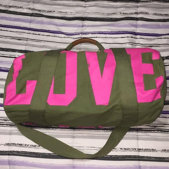 PINK Victoria s Secret Bags   Love Pink Army Green Duffel Bag   Poshmark 7a311ae1ff